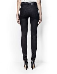 """Tiger of Sweden Jeans, Kelly jeans-Women's black high-waist, super-slim leg, five-pocket jeans in 10-ounce, super-stretch denim. The wash is called """"Blackend"""", a completely black wash that has been dyed with sulphur for fast fading qualities. Rinsed for softness only, this wash will fade fast from black to grey to feature your own personal wear marks. Leather logo label on waistband."""