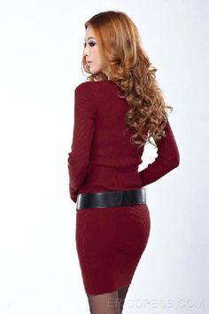 Solid Color Long Sleeve Thick Sheath Dress  Sheath Dresses