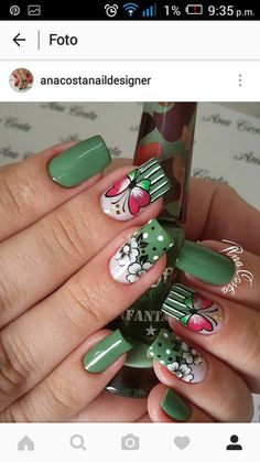 elegant autumn nail designs have to try blackish green floral stiletto nails inspo 4 ~ thereds.me : elegant autumn nail designs have to try blackish green floral stiletto nails inspo 4 ~ thereds. Autumn Nails, Spring Nails, Summer Nails, Cute Nail Art, Cute Nails, Nail Designs Spring, Nail Art Designs, Fingernails Painted, Watermelon Nails