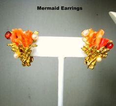 Swoboda Signed Coral Clip Earrings 1950s w by VintageStarrBeads