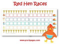 Printable Little Red Hen Races Board Game for preschool and kindergarten