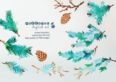 Check out watercolor snowy branches by mellenes on Creative Market. Love this watercolor clip art.