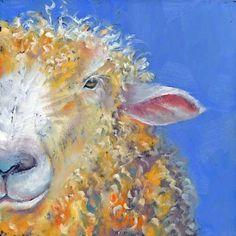 Only Half Listening by Brenda Ferguson -- Brenda Ferguson Sheep Paintings, Animal Paintings, Acrylic Paintings, Lion And Lamb, Sheep And Lamb, Watercolor Animals, Watercolour, Sheep Art, Pallet Art