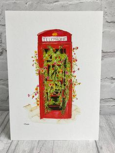 Red telephone box print, watercolour painting, London landmark, British icon, recycled objects, flower planter, unique art, giclee print