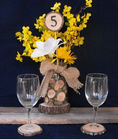 1-10 RusticTree Branch Slice Tall Table Numbers, Weddings, Reunions, Parties, Meetings - pinned by pin4etsy.com