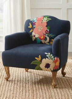 Create a richly colorful, standout moment in the living room or bedroom, while maintaining the everyday comfort you enjoy. Inspired by the expert gardener's pick-of-the-day bouquet. Love the hand-applied nailhead trim and happy little butterfly on the back. Funky Furniture, Painted Furniture, Furniture Design, Painted Sofa, Outdoor Furniture, Office Furniture, Wood Arm Chair, Wing Chair, Chair Bench