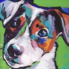 smooth Jack Russell Terrier art print pop dog art bright colors 8x8. $11.99, via Etsy.