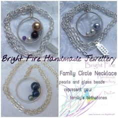 Family Circle Necklace Birthstone Necklace Made with Swarovski pearls, Semi-precious gems or glass beads in a wire wrapped circle.