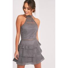 Raine Grey Lace Panel Tiered Mini Dress (£30) ❤ liked on Polyvore featuring dresses, ice grey, gray dress, short dresses, short grey dress, high neck cocktail dress and grey lace cocktail dress
