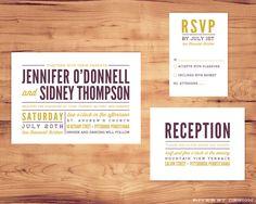 Printable Wedding Package - Invite, RSVP, Enclosure Card. $35.00, via Etsy.