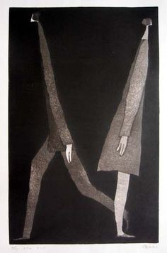 Stop & walk by Aoki Tetsuo, (contemporary) Japanese woodblock printer