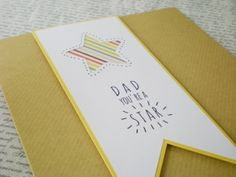 Fathers Day card Dad you're a star handcrafted modern by jujucards, £2.00