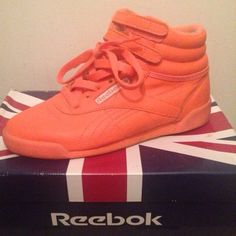Reebok Classic Neon Orange Reebok Freestyle Neon Orange  size 3 kids fits 5 - 5.5 women $15 each $25 bundle  ( gently used ) Reebok Shoes