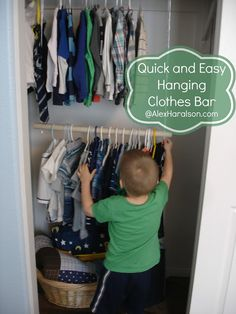 DIY Hanging Clothes Bar for Kid's Closets