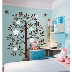 Flower Tree With Flying Birds Wall Sticker