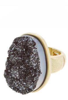 Charcoal Druzy Fashion Ring – Modeets.com $19