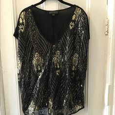 Forever 21 Plus Size Sequin Top Super hot black and gold sequined top. Plus size. Worn once! Forever 21 Tops