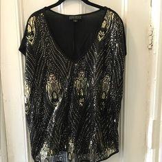 Forever 21 Plus Size Sequin Top Super hot black and gold sequined top. Plus size. Worn once! Forever 21 Tops