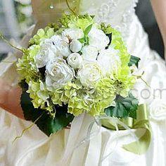グリーンリボンとファッション白い布ウェディングブライダルブーケ