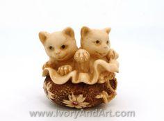 Mammoth Ivory Netsuke - Two Kitties