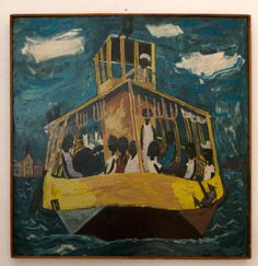 Charles Eyck (Curaçao 1897-1983). Verrpontje (Ferry), 1952. Oil on wood. 26 x 26 in. (67 x 67 cm). Private Collection, Curaçao