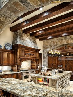 here is another view of my dream home kitchen with beautiful beams