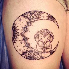 Boho moon & elephant tattoo More