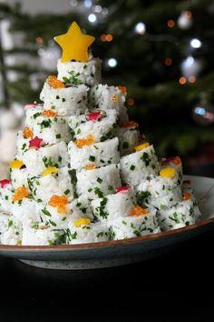 Sapin de Noël apéritif en sushi