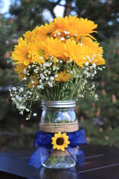 New Colors Set of 4 Sunflower Mason Jar by BeeDelightedBoutique
