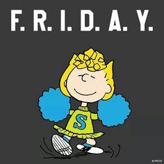 Pin by ellen marconi on snoopy Peanuts Cartoon, Peanuts Snoopy, Peanuts Comics, Its Friday Quotes, Friday Humor, Friday Fun, Happy Friday, Go Rider, Sally Brown