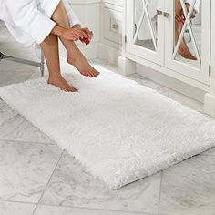 Buy LOCHAS Soft Shaggy Bath Mat Bathroom Rug Anti-slip Floor Mats Absorbs Water, 30 x 18inch, White - Reviewhomkit.com ✓ FREE DELIVERY possible on eligible purchases