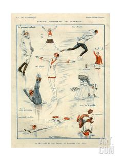 Ice Skating Illustration by Henry Fournier For La Vie Parisienne Ice Skating Images, Skating Pictures, Magazine Illustration, Illustration Art, Vintage Artwork, Vintage Posters, Skate Art, Vintage Winter, Illustrations Posters