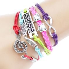 Best Friend Love Charm Bracelet This fashionable Multi Strand Infinity Bracelet is the perfect accessory for any outfit and would make the perfect gift for friends and family or an extra special treat for yourself! – Multi strand bracelet attached with a metal clasp– All orders shipped the same day! Jewelry Bracelets