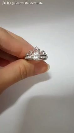 Unique Crown Ring Set - The most beautiful two stack ring set! The ultimate princess dream! Inclusions: Classic Solitaire R - Crown Wedding Ring, Rose Gold Engagement Ring, Diamond Wedding Rings, Bridal Rings, Vintage Engagement Rings, Vintage Anniversary Rings, Anniversary Rings For Her, Diamond Crown Ring, Diamond Pendant