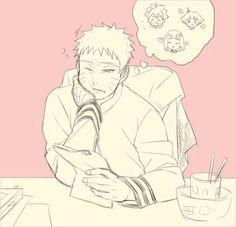 Uzumaki Naruto, Seventh Hokage, desk, Hinata, Himawari, Boruto, thinking; Naruto