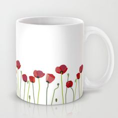 Red Poppies Mug by Laura Minimalia Painted Coffee Mugs, Hand Painted Mugs, Cute Coffee Mugs, Hand Painted Ceramics, Pottery Painting Designs, Pottery Designs, Mug Designs, Ceramic Painting, Ceramic Art