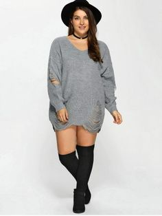 GET $50 NOW | Join RoseGal: Get YOUR $50 NOW!http://m.rosegal.com/plus-size-sweaters-cardigans/distressed-plus-size-sweater-872456.html?seid=g9dp31cui7oaf6d5h8e1he3fh1rg872456