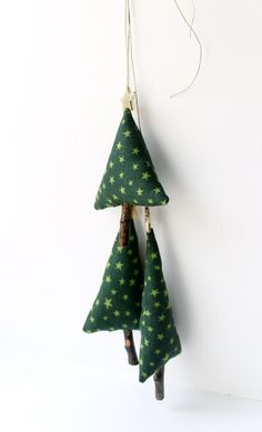 Set of Three Christmas Tree, Decoration for Christmas Time, textile ornament to hang, fabric in green tones with stars  #Home Décor  #Ornaments   #ChristmasTrees  #christmas  #fir trees #tree ornament  #gift  #holidays  decoration  #holiday decor  #christmas ornament