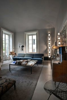 Still pining after a blue sofa. Either way, this place is cool. From solid frog. #interiors, #sofas, #milan