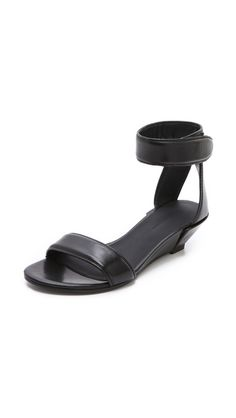 Alexander Wang Vika Wedge Sandals-A pair of simple Alexander Wang sandals, rendered in smooth leather. A sleek strap curves over the toes, and a Velcro® strap wraps the ankle. Stacked, low wedge heel and leather sole.  shopbop