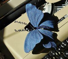 Denim wedding, medium denim butterfly, denim brooch, butterfly gift, cotton wedding anniversary