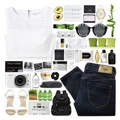 """""""we're riding through the dark night"""" by valismyname ❤ liked on Polyvore featuring PLANT, Diesel, Rebecca Taylor, Ralph Lauren, Lacoste, Sherpani, NARS Cosmetics, Christy, Threshold and Blink"""