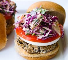 Black Bean Fiesta Veggie Burgers and Slaw