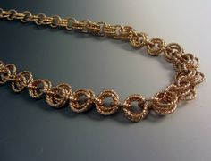 Golden Chainmaille Necklace 14KT Gold-Filled Twisted Wire OOAK