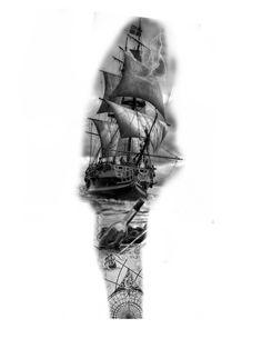Nautical Tattoo Sleeve, Full Sleeve Tattoo Design, Tattoo Design Drawings, Tattoo Sketches, Tattoo Designs, Tattoo Sleves, Ship Tattoo Sleeves, Leg Sleeve Tattoo, Tattoo Ship