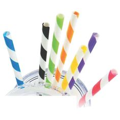 """Turn back the clock with these candy striped straws! For a vintage feel, these striped drinking straws are made from polypropylene and ideal for everyday use. These are perfect for a bar accessory, children's party, or if you want to add a fun colorful twist to a normal drink. With a variety of colors to choose from, the possibilities are endless. These 9"""" straws will fit most cups and are available to be purchased separately."""