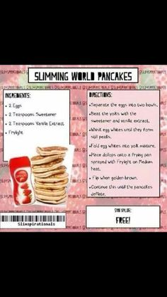 Slimming world pancakes :) astuce recette minceur girl world world recipes world snacks Slimming World Pancakes, Slimming World Sweets, Slimming World Puddings, Slimming World Syn Values, Slimming World Dinners, Slimming World Breakfast, Slimming World Recipes Syn Free, Slimming World Plan, Slimming World Tesco