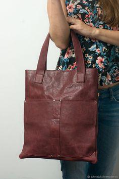 Jukova Julia Bags Купить Сумка пакет бордовая вишневая из натуральной кожи крейзи хорс - бордовый, крейзи хорс