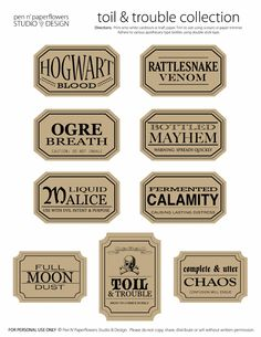 Apothecary Jar Labels | Toil & Trouble Collection (PAGE 2 • Colored Edition)