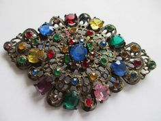 Old Vintage Art Deco 1930's Multi Colored Rhinestones Pin Brooch #Unbranded